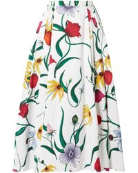 Carolina Herrera - Woman Pleated Floral-print Cotton-blend Midi Skirt White - Lyst