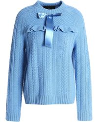 Needle & Thread Woman Bow-embellished Cable-knit Merino Wool Sweater Light Blue