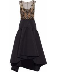 Marchesa notte - Embellished Tulle-paneled Faille Midi Dress - Lyst