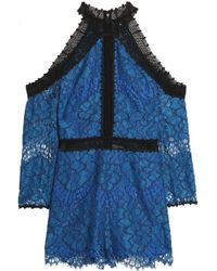 Alexis - Cold-shoulder Corded Lace Playsuit Royal Blue - Lyst