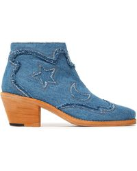 McQ - Frayed Denim Ankle Boots Mid Denim - Lyst