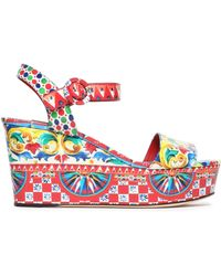 Dolce & Gabbana - Printed Glossed-leather Wedge Sandals - Lyst