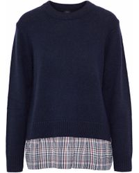 JOSEPH - Checked Silk-paneled Wool And Cashmere-blend Sweater Midnight Blue - Lyst