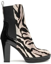 Hogan - Leather-paneled Zebra-print Calf Hair Ankle Boots - Lyst
