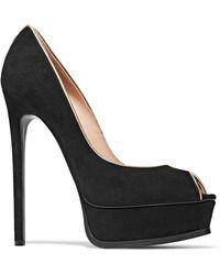 Casadei - Metallic Leather-trimmed Suede Platform Court Shoes - Lyst