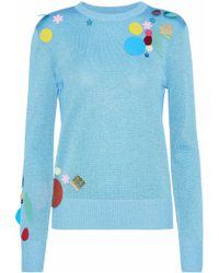 Christopher Kane - Embellished Metallic Knitted Sweater - Lyst
