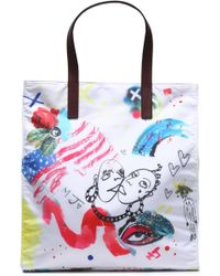 Marc Jacobs - Leather-trimmed Printed Shell Tote - Lyst