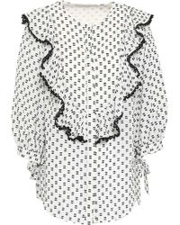 Lover - Woman Ruffled Fil Coupé Blouse White - Lyst