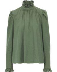 Goen.J - Woman Ruffle-trimmed Cotton-twill Blouse Army Green - Lyst