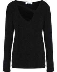 LNA - Cutout Ribbed-knit Top - Lyst