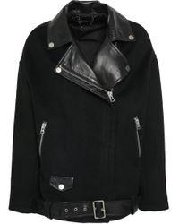 Muubaa - Leather-paneled Felt Biker Jacket - Lyst