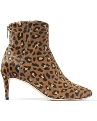 c00144a039b Jimmy Choo - Woman Duke Leopard-print Calf Hair Ankle Boots Animal Print -  Lyst