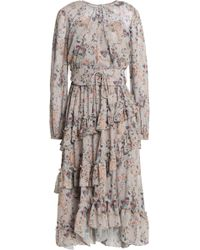 Mikael Aghal - Lace-up Ruffled Metallic Floral-print Georgette Dress - Lyst