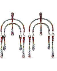 DANNIJO - Woman Kamil Silver-plated Crystal Earrings Multicolour - Lyst