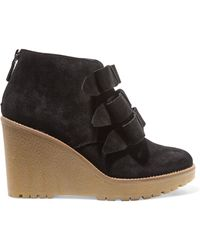 RED Valentino - Bow-embellished Suede Wedge Court Shoes - Lyst
