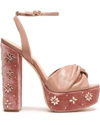 Rachel Zoe - Knotted Leather And Embellished Velvet Platform Sandals Antique Rose - Lyst