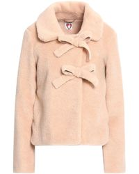 Shrimps - Oliver Bow-embellished Faux Shearling Coat Peach - Lyst