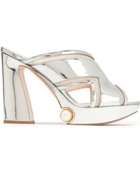 Nicholas Kirkwood - Woman Faux Pearl-embellished Cutout Mirrored-leather Platform Sandals Silver - Lyst