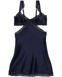 Stella McCartney - Lace-trimmed Silk-blend Satin Chemise Midnight Blue - Lyst