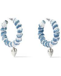 DANNIJO - Lou Oxidized Silver-plated, Denim And Lace Hoop Earrings Light Denim - Lyst