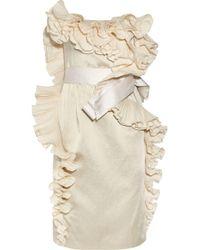 Lanvin | Ruffled Satin Dress | Lyst