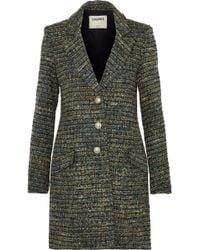 L'Agence - Woman Bouvier Classic Tweed Coat Dark Green Size 12 - Lyst
