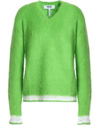 MSGM - Crochet-trimmed Brushed Knitted Jumper Bright Green - Lyst