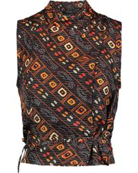 Isabel Marant | Theo Cropped Printed Silk Wrap Top | Lyst