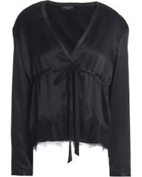 1414bb16bba44 Rag   Bone Tomlin V-neck Long-sleeve Satin Silk Shirt in Black - Lyst