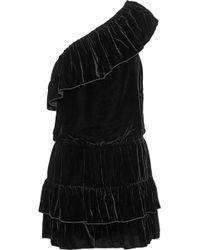 Joie - One-shoulder Ruffled Velvet Mini Dress - Lyst