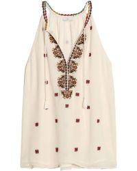 Joie - Eniko Embroidered Silk Crepe De Chine Top - Lyst
