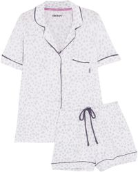 DKNY - Polka-dot Stretch-modal Pyjama Set - Lyst