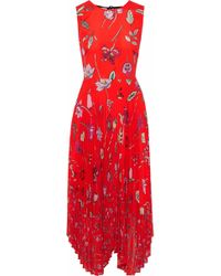 Markus Lupfer - Ella Pleated Printed Chiffon Midi Dress - Lyst