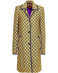 Missoni - Checked Metallic Crochet-knit Coat Yellow - Lyst