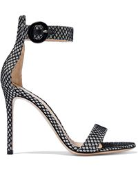 Gianvito Rossi - Portofino 105 Glittered Snake-effect Leather Sandals - Lyst