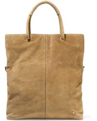 Halston - Leather-trimmed Suede Tote - Lyst