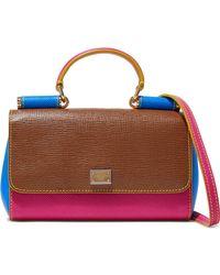 Dolce & Gabbana - Miss Sicily Color-block Textured-leather Shoulder Bag - Lyst