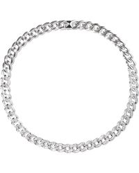 Noir Jewelry - Woman Chain Gang Rhodium-plated Crystal Choker Silver - Lyst