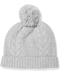 N.Peal Cashmere - Pom Pom-detailed Cable-knit Cashmere Beanie - Lyst