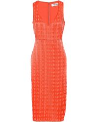 Diane Von Furstenberg Woman Pintucked Georgette And Sateen Dress Coral Size 10 Diane Von F q6J2kH0X2d