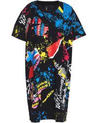 Versus - Flocked Printed Cotton-jersey Mini Dress - Lyst