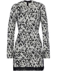 Proenza Schouler - Fringe-trimmed Jacquard-knit Mini Dress - Lyst