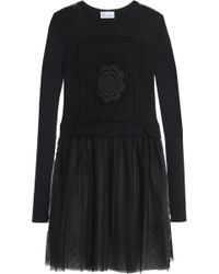 RED Valentino - Crochet, Point D'esprit And Ribbed Wool Mini Dress - Lyst