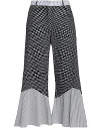 House of Holland - Fluted Printed Cotton-poplin Culottes - Lyst