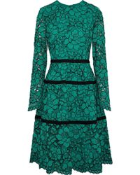 Lela Rose - Flared Corded Lace Dress - Lyst