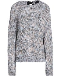 Rochas - Woman Tie-back Marled Open-knit Cotton Sweater Taupe - Lyst