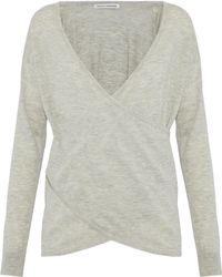 Autumn Cashmere - Wrap-effect Mélange Cashmere Sweater - Lyst