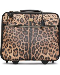 Dolce & Gabbana - Woman Leopard-print Textured-leather Suitcase Animal Print - Lyst