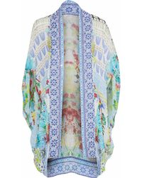 Camilla - Crystal-embellished Printed Silk Crepe De Chine Cape Light Blue - Lyst
