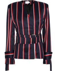 Solace London - Belted Striped Wool And Cotton-blend Blazer - Lyst